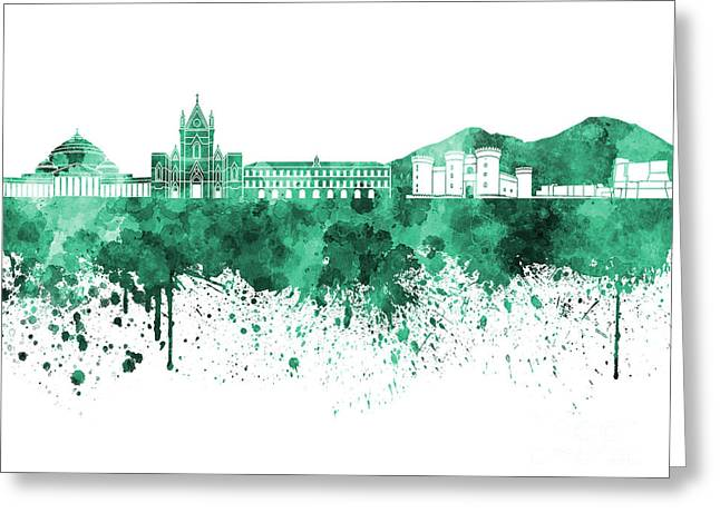 Naples Greeting Cards - Naples skyline in green watercolor on white background Greeting Card by Pablo Romero