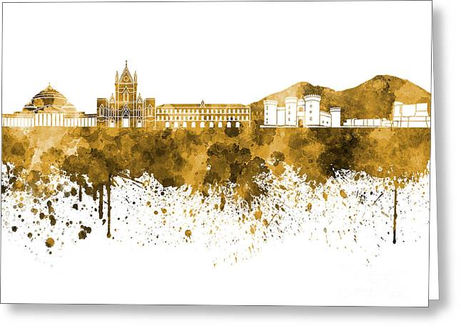 Naples Greeting Cards - Naples skyline in orange watercolor on white background Greeting Card by Pablo Romero