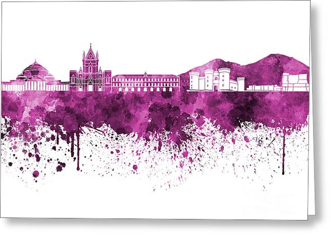 Naples Greeting Cards - Naples skyline in pink watercolor on white background Greeting Card by Pablo Romero