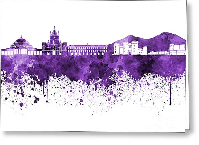 Naples Greeting Cards - Naples skyline in purple watercolor on white background Greeting Card by Pablo Romero