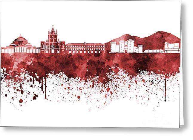 Naples Greeting Cards - Naples skyline in red watercolor on white background Greeting Card by Pablo Romero