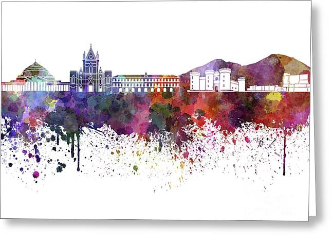 Naples Greeting Cards - Naples skyline in watercolor on white background Greeting Card by Pablo Romero