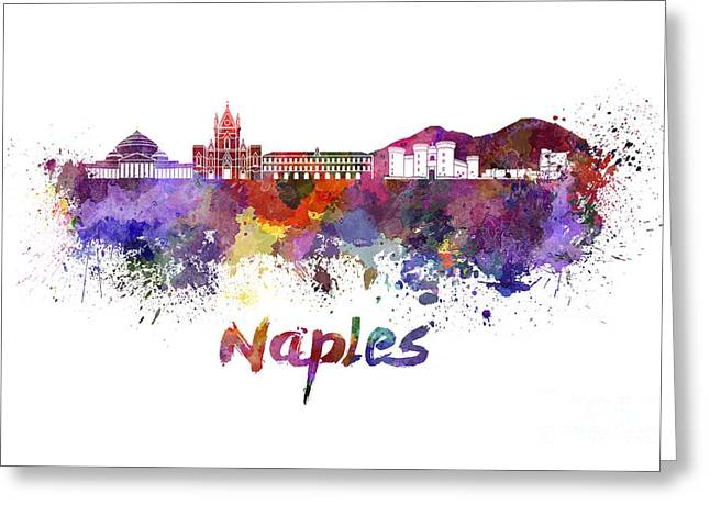 Naples Greeting Cards - Naples skyline in watercolor Greeting Card by Pablo Romero