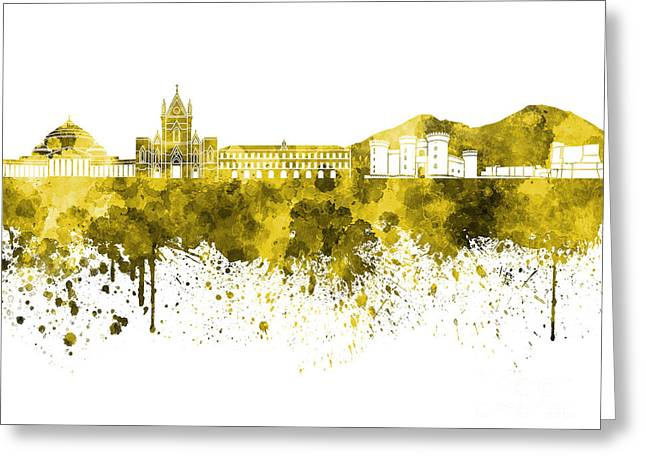 Naples Greeting Cards - Naples skyline in yellow watercolor on white background Greeting Card by Pablo Romero
