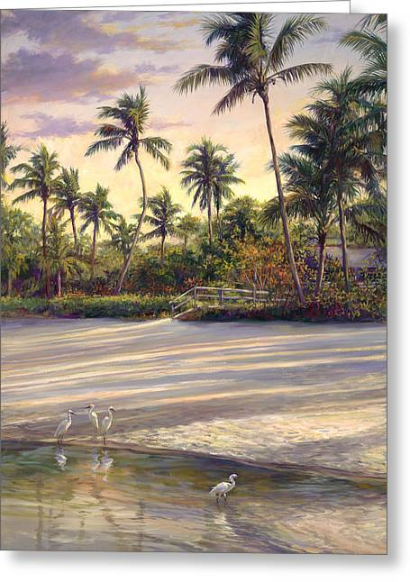 Coconut Trees Greeting Cards - Naples Sunrise Greeting Card by Laurie Hein
