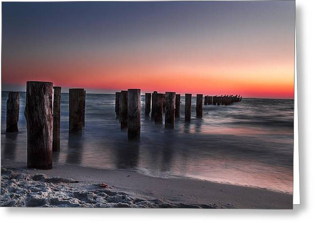 Recently Sold -  - Moon Beach Greeting Cards - Forgotten Pier  Greeting Card by Frank Molina