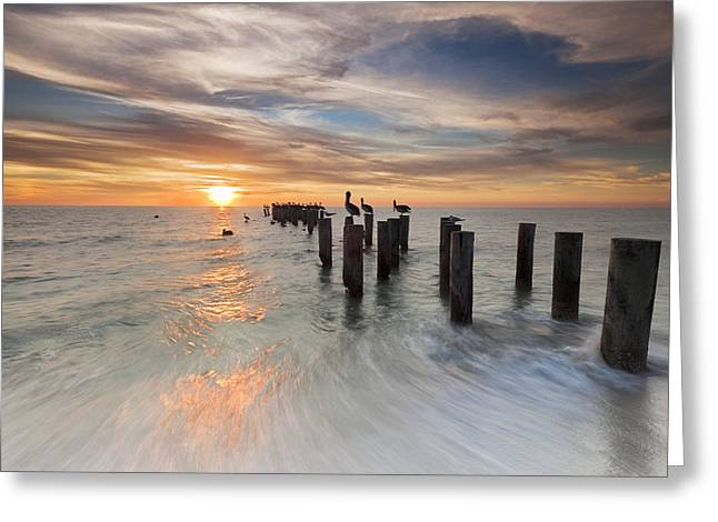 Naples Photographs Greeting Cards - Naples Sunset Greeting Card by Mike Lang