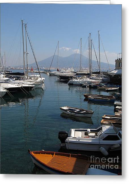 Neapolitan Greeting Cards - Naples Yacht Port with Vesuvius Greeting Card by Kiril Stanchev