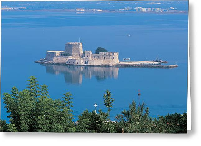 Calm Waters Greeting Cards - Naplioon Burdzi Island Greece Greeting Card by Panoramic Images