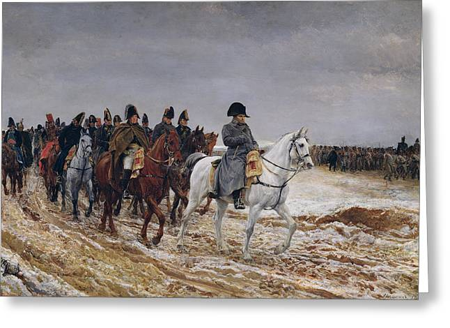Marechal Greeting Cards - Napoleon 1769-1821 On Campaign In 1814, 1864 Oil On Canvas Greeting Card by Jean-Louis Ernest Meissonier