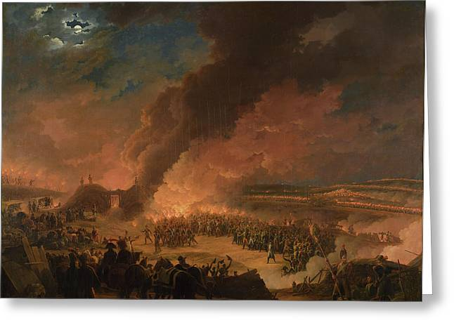 Torchlight Greeting Cards - Napoleon 1769-1821 Visiting The Bivouacs On The Eve Of The Battle Of Austerlitz, 1st December 1805 Greeting Card by Baron Louis Albert Bacler d