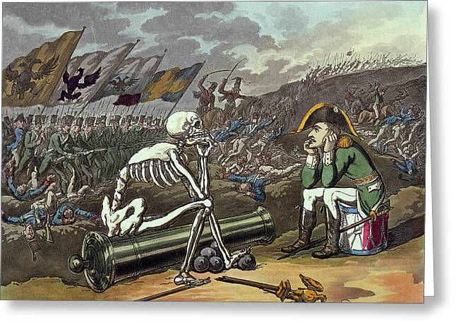Caricature Photographs Greeting Cards - Napoleon And Skeleton, 18th Coloured Lithograph Greeting Card by Thomas Rowlandson