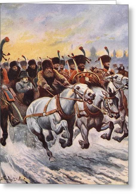 Leader Greeting Cards - Napoleon At The Retreat From Moscow Greeting Card by Stanley L. Wood