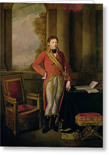 Full-length Portrait Photographs Greeting Cards - Napoleon Bonaparte 1769-1821 As First Consul, 1799-1805 Oil On Canvas Greeting Card by Jean Baptiste Greuze