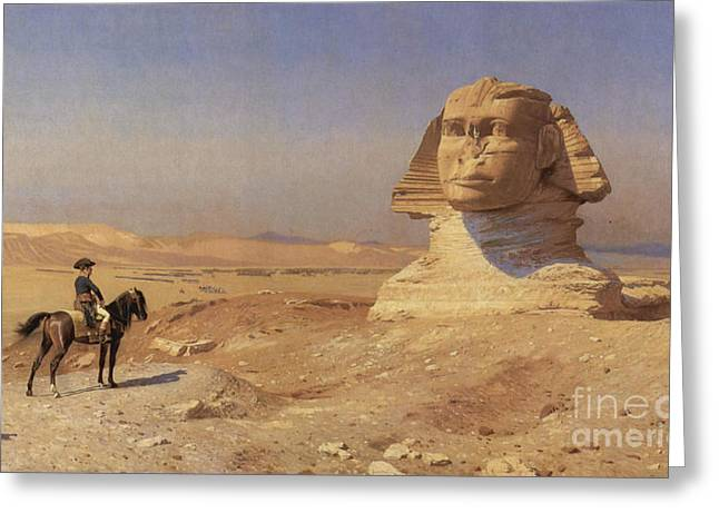 Napoleon Bonaparte Before The Sphinx Greeting Card by Photo Researchers