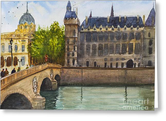 Franch Greeting Cards - Napoleon Bridge Paris Greeting Card by Lior Ohayon