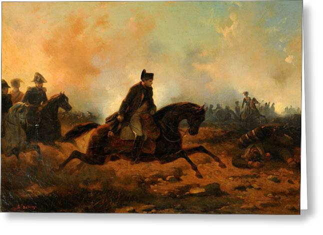 Hippolyte Greeting Cards - Napoleon Embarking at Waterloo Greeting Card by Hippolyte Bellange