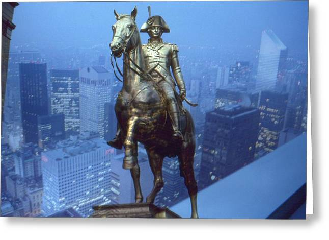 Surreal Fantasy Horse Fine Art Greeting Cards - Napoleon in New York - Photo Collage Greeting Card by Peter Fine Art Gallery  - Paintings Photos Digital Art