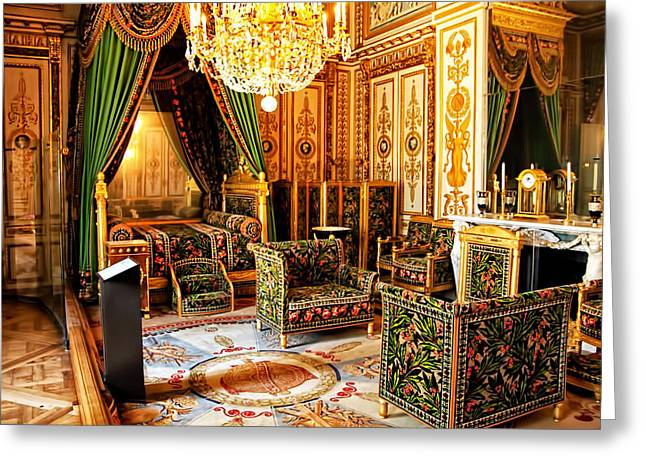 Fontainebleau Greeting Cards - Napoleons Bedroom - Chateaux Fontainebleau - France Greeting Card by Jon Berghoff