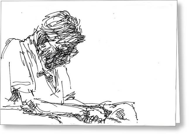 Sketch Greeting Cards - Napping At Waiting Room Greeting Card by Ylli Haruni