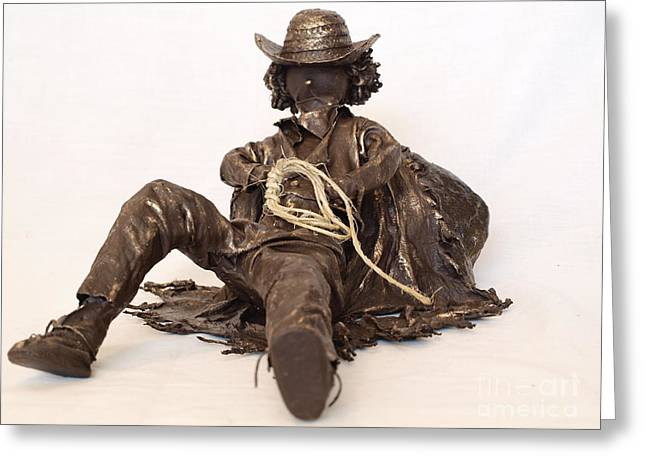 Realism Sculpture Sculptures Sculptures Greeting Cards - Napping Cowboy - 1st Photo Greeting Card by Vivian Martin