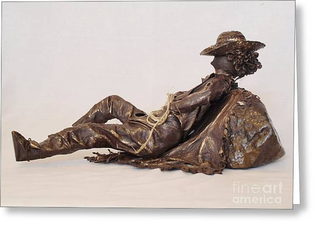 Realism Sculpture Sculptures Sculptures Greeting Cards - Napping Cowboy - 2nd Photo Greeting Card by Vivian Martin