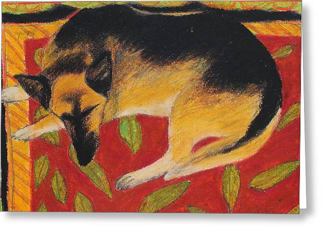 Shepherds Greeting Cards - Napping Greeting Card by Jeanne Fischer