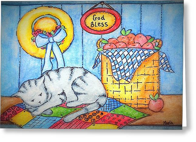 Maine Spring Paintings Greeting Cards - Naptime Kitty Greeting Card by MarLa Hoover