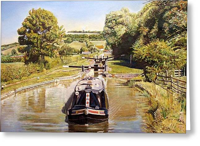 Warwickshire Greeting Cards - Napton Top Lock, 2008 Oil On Canvas Greeting Card by Kevin Parrish