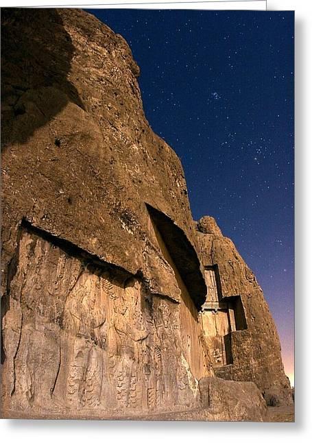 Ancient Persian Art Greeting Cards - Naqshe Rostam at night, Iran Greeting Card by Science Photo Library