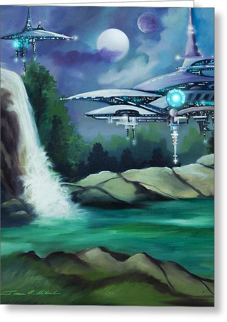 Stellar Paintings Greeting Cards - Narada City  Greeting Card by James Christopher Hill