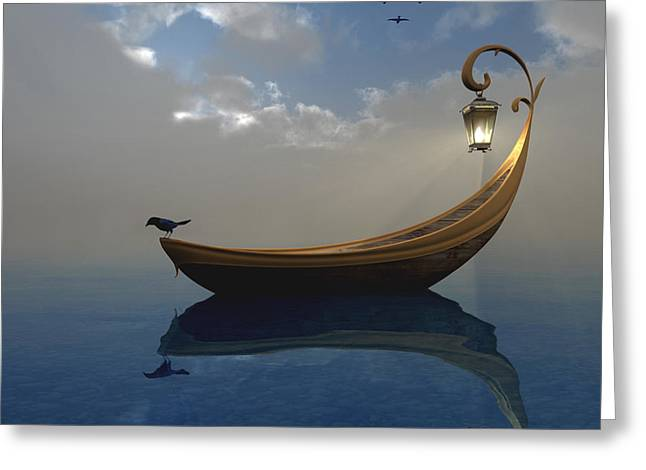Canoe Greeting Cards - Narcissism Greeting Card by Cynthia Decker