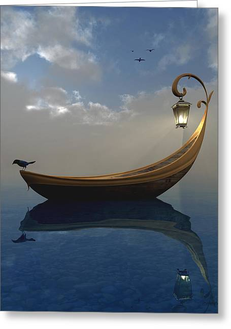 Boat On Water Greeting Cards - Narcissism Greeting Card by Cynthia Decker