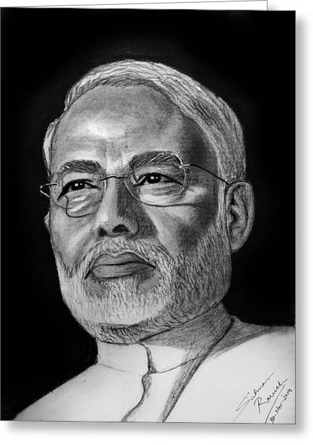 Salman Ravish Greeting Cards - Narendra Modi Greeting Card by Salman Ravish