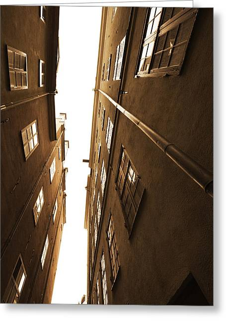 Buildings And Narrow Lanes Greeting Cards - Narrow alley seen from below - sepia Greeting Card by Intensivelight