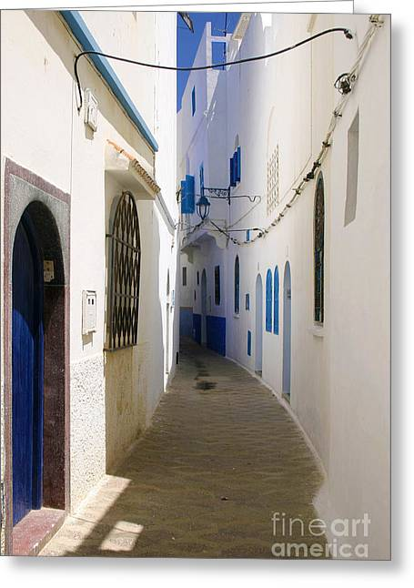 Africa Festival Greeting Cards - Narrow Backstreet in the Medina of Asilah on Northwest tip of Atlantic Coast of Morocco Greeting Card by Ralph A  Ledergerber-Photography