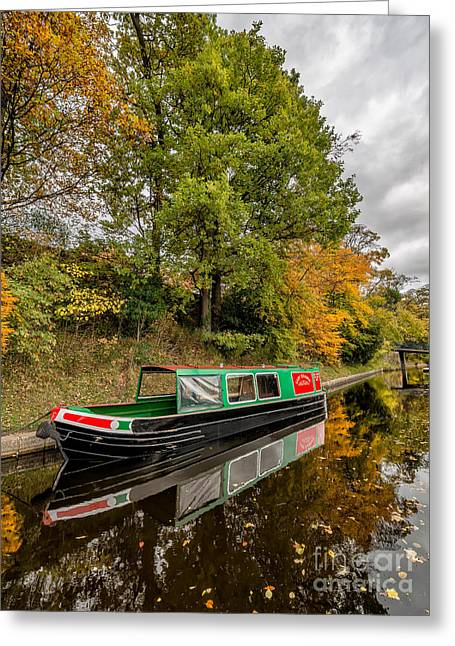 Autumnal Greeting Cards - Narrow Boat Greeting Card by Adrian Evans