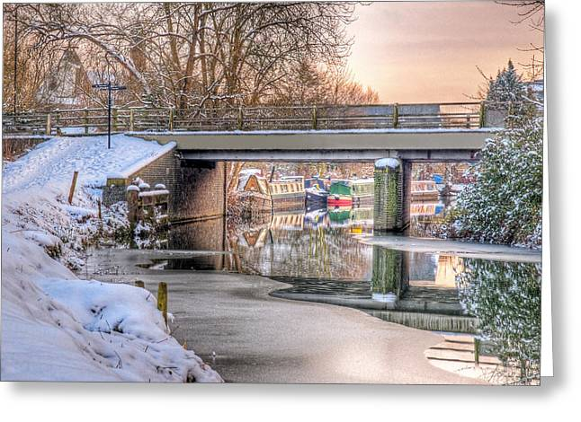 Boats In Water Photographs Greeting Cards - Narrow Boats Under the Bridge Greeting Card by Gill Billington