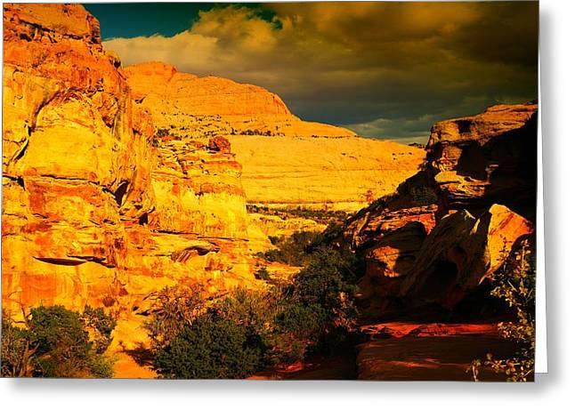Southern Utah Greeting Cards - Narrow Chasms Greeting Card by Jeff  Swan
