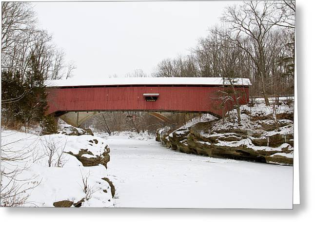 Narrow Covered Bridge In Winter, Turkey Greeting Card by Panoramic Images