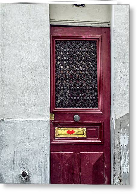 France Doors Greeting Cards - Narrow Heart Door Greeting Card by Nomad Art And  Design