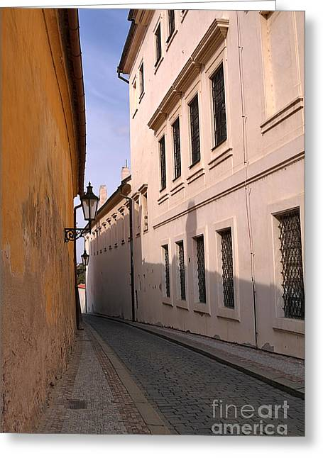 Travel Photographs Greeting Cards - Narrow Lane in the Romantic City of Prague Greeting Card by Louise Heusinkveld