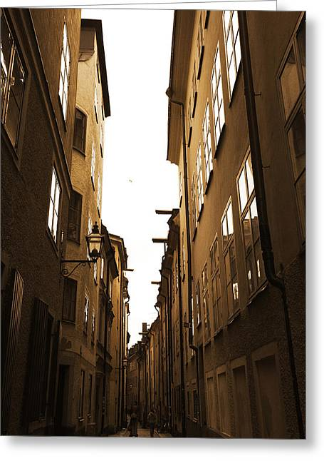 Buildings And Narrow Lanes Greeting Cards - Narrow medieval street - monochrome Greeting Card by Intensivelight