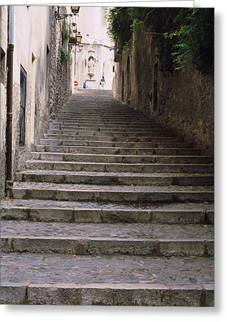 Costa Greeting Cards - Narrow Staircase To A Street, Girona Greeting Card by Panoramic Images