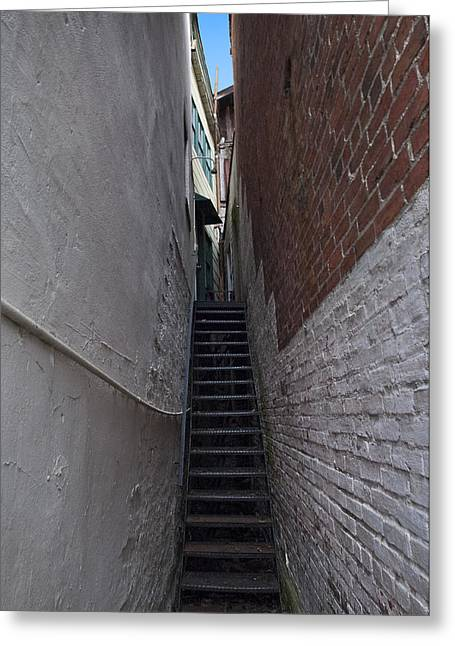 Alley Stairs Greeting Cards - Narrow Stairs Greeting Card by Murray Bloom
