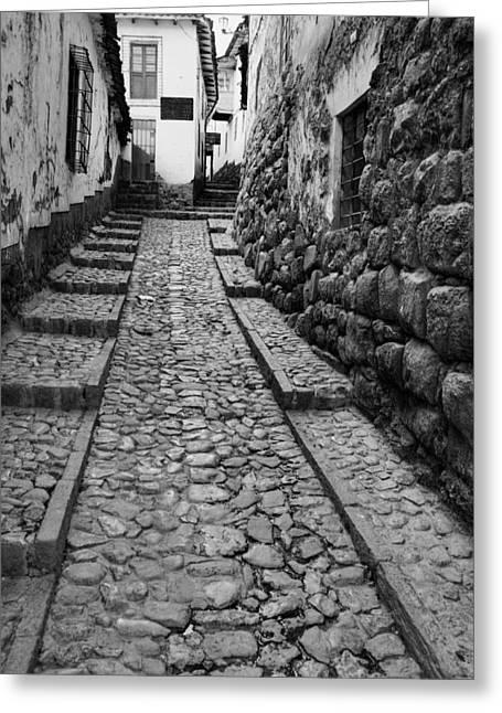 Run Down Greeting Cards - Narrow street in Cusco Greeting Card by Alexey Stiop
