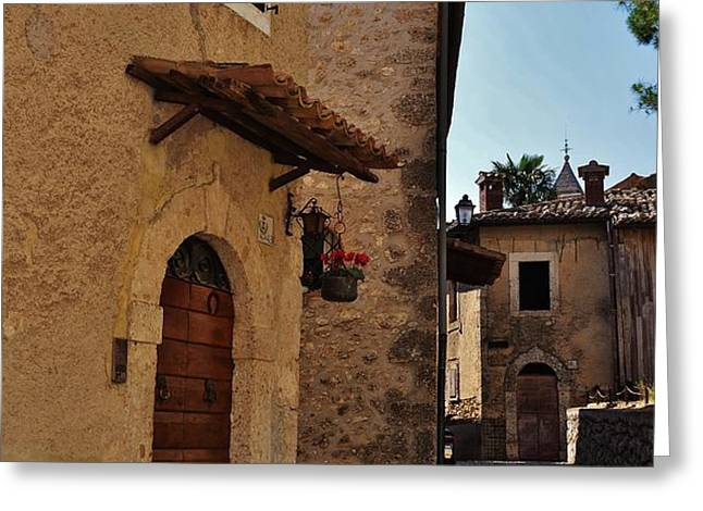 Narrow street in Italian Village Greeting Card by Dany  Lison