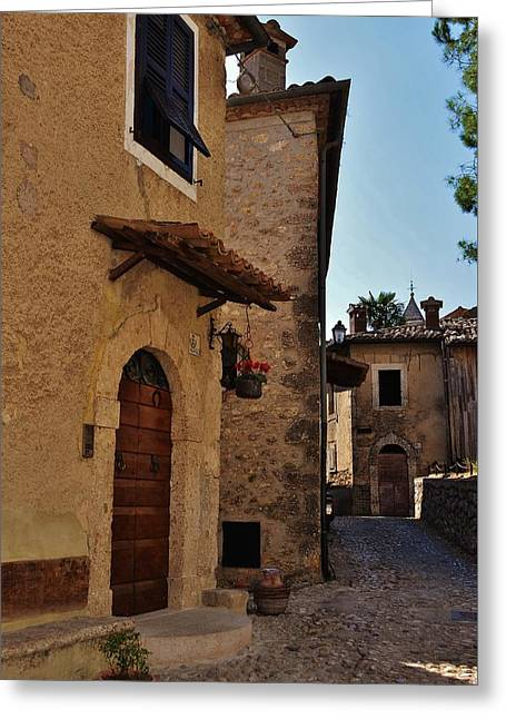 Frontdoor Greeting Cards - Narrow street in Italian Village Greeting Card by Dany  Lison