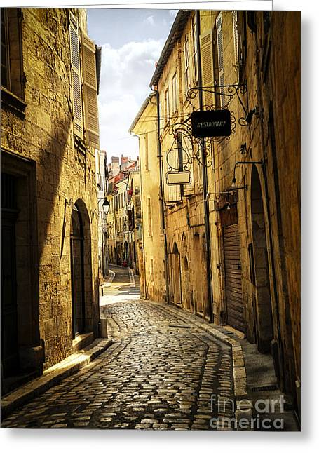 Dordogne Greeting Cards - Narrow street in Perigueux Greeting Card by Elena Elisseeva