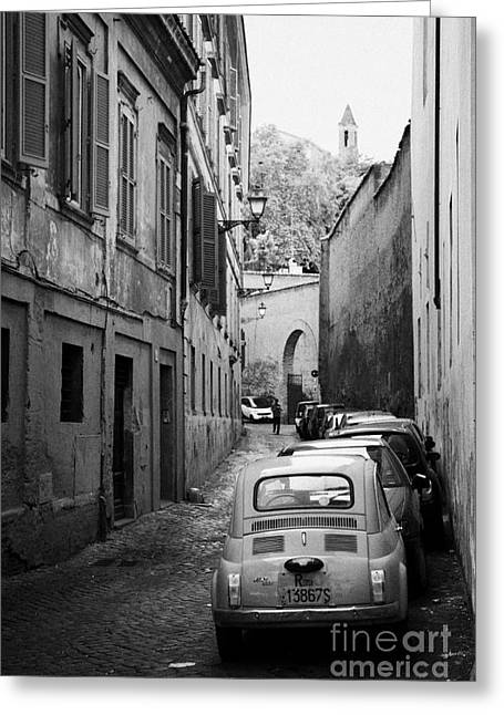 Trastevere Greeting Cards - Narrow street in Trastavere Rome Lazio Italy Greeting Card by Joe Fox